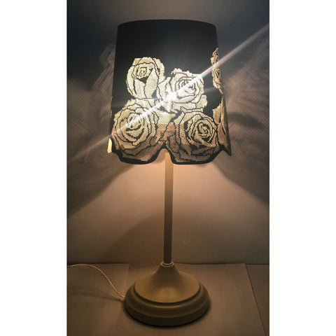 "15"" Hollowed-out Metal Rose Antique White Table Lamp"