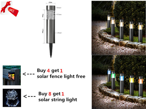 Color Changing Solar Powered Stainless Steel Landscape Lawn Pathway LED Lights (1)