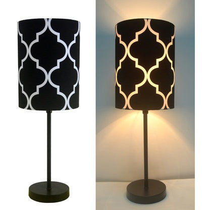 "16""H Mini Living Room Indoor Table Lamp Metal Base Black"