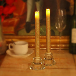 "9"" LED Flameless Dripless Led Taper Candles with Timer Function, Battery Operated, Wedding Dinner Candle Set of 2 (Gold Glitter)"