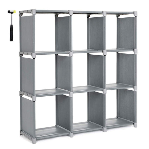 Kanstar 9 Cube DIY Cube Storage Shelves Open Bookshelf Closet Organizer Rack Cabinet Gray