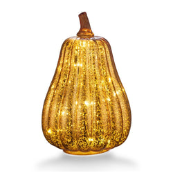 8.7'' Mercury Glass Pumpkin Light - Battery Operated LED Pumpkin with Timer-Gold