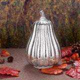 8.7'' Mercury Glass Pumpkin Light - Battery Operated LED Pumpkin with Timer -Silver