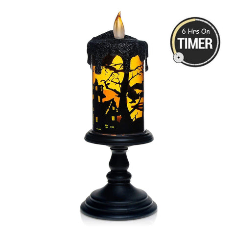 Halloween Witch Tornado LED Lighting Flameless Candle, Battery Operated Table Centerpiece for Home and Party-Witch