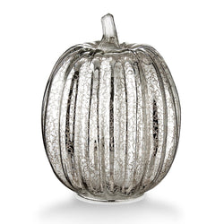 "Mercury Glass 7.7"" Battery Operated LED Pumpkin Lights with Timer -Sivler"