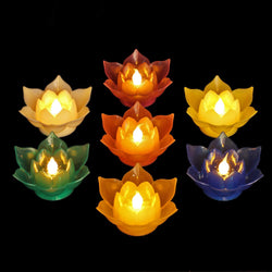 7 Color Batteries Operated Lotus LED Candle Floating Candle Flameless Candle Light Beautiful Festival Lamp Decoration Home, Garden, Pond (Pack of 7)