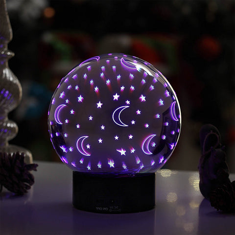 Decorative 3D Illusion Night Light - Mercury Glass Color Changing LED Ball Sphere Lamp with Moon and Star Pattern