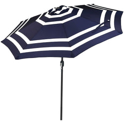 9 Foot Outdoor Patio Umbrella with Push Button Tilt & Crank, Aluminum, Navy Blue Stripe