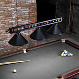 59'' Hanging Pool Table Light Fixture for Game Room Beer Party, Ball Design Metal Billiards Light with 3 Lamp Shades, Suitable for 7~9 Foot Pool Tables (Black)