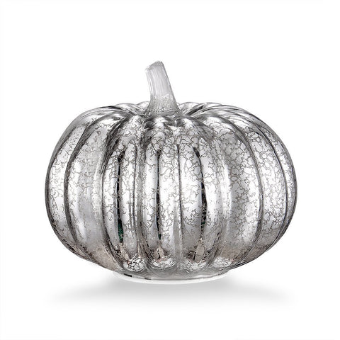 "Mercury Glass 5.5"" Battery Operated LED Pumpkin Lights with Timer - Silver"