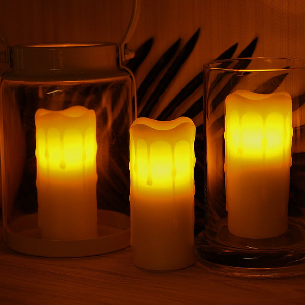 LED Votive Candles,Dripping Wax Flameless Votive Candle with Timer,Battery-Operated,Ivory,1.75x4 (Pack of 3)