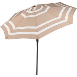 9 Foot Outdoor Patio Umbrella with Push Button Tilt & Crank, Aluminum, Beige Stripe