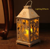 Christmas Lantern, LED candles with Timer,Battery Operated, Decorative Christmas Vintage Tree Decor, Outdoor&Indoor Use - White