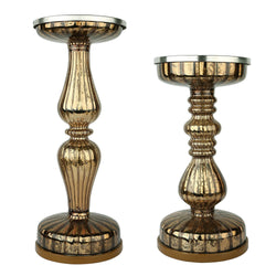 S/2 Lit Pillar / Handmade Mercury / Pedestals Candle Centerpiece Holders with Micro LED Lights - Coffee