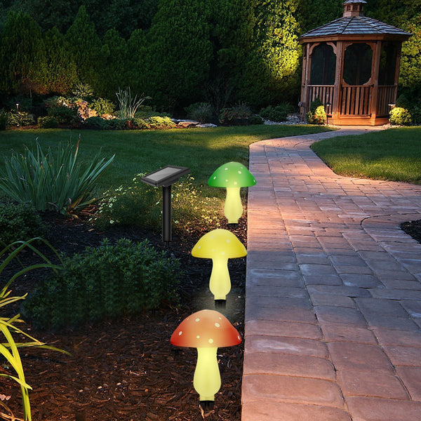 Outdoor solar garden lights solar powered mushroom lights - Decorative garden lights solar powered ...