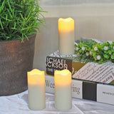 "LED Votive Candles with Timer,Battery Operated Flickering Flameless Candles (Pack of 3),1.375"" D x 3"" H, Ivory"