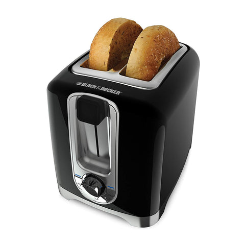 BLACK & DECKER 2-Slice Toaster, Square, Black, with Bagel Function and Removable Crumb Tray, TR1256B