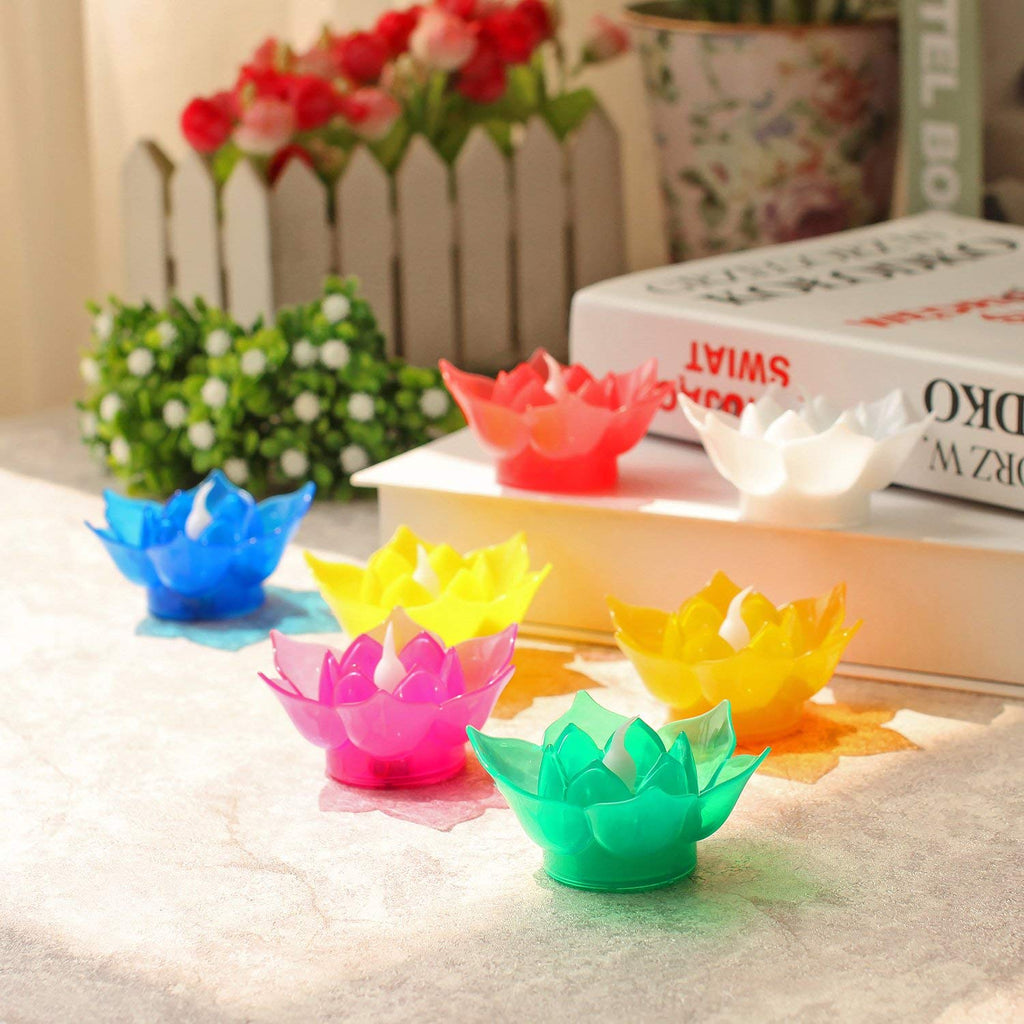 7 Color Batteries Operated Lotus Led Candle Floating Candle