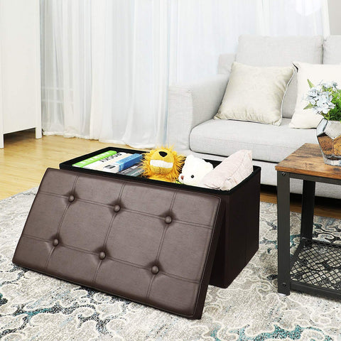 Phenomenal 30L Faux Leather Folding Storage Ottoman Bench Storage Pabps2019 Chair Design Images Pabps2019Com