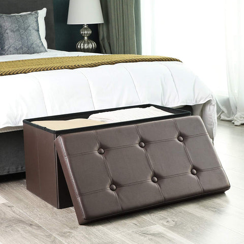 Stupendous 30L Faux Leather Folding Storage Ottoman Bench Storage Pabps2019 Chair Design Images Pabps2019Com