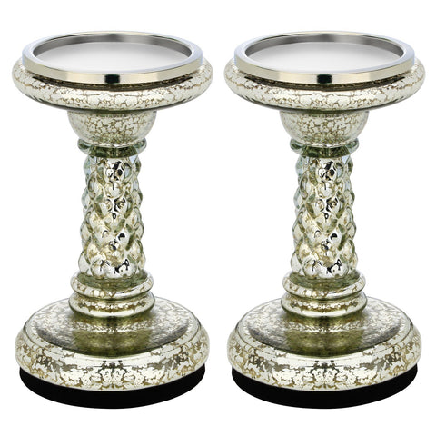 "7.8"" Mercury Glass Pillar LED Candle Holders with Timer- Silver (set of 2)"