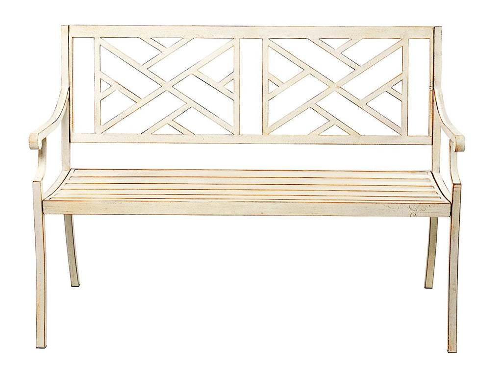 48 Patio Garden Bench Park Yard Outdoor Furniture Steel Frame Porch