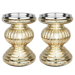 "S/2 Lit Candle Holder Pedestals, 5.3"" Handmade Festive Ribbed Mercury Glass Pillar Candle Stand Holder with Micro LED Lights - Home Decor Accessories - Gold"