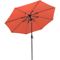 Umbrella 9 Ft Aluminum Outdoor Table Market Umbrellas With Push Button Tilt and Crank, Safety Bolt,8 Ribs (Orange)