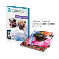 HP Photo Paper, Sticky Back Social Media Snapshots, (4x5 inch), 25 sheets