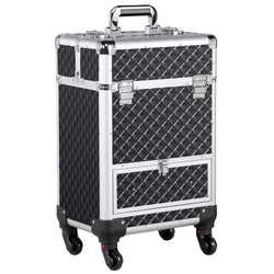 Aluminum Cosmetic Case Rolling Makeup Train Case - 360-Degree Rolling Wheels Barber Salon Lockable Travel Case Trolley with Sliding Drawers Removable Divider