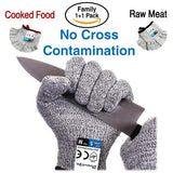 Cut Resistant Gloves Food Grade Level 5 Protection, Safety Kitchen Cuts Gloves for Oyster Shucking, Fish Fillet Processing, Mandolin Slicing, Meat Cutting and Wood Carving, Food Grade Level 5