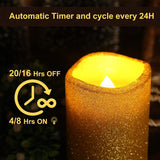3x4 Inch Gold Flameless Led Pillar Candle with Timer, Battery Operated Real Wax Electric Light