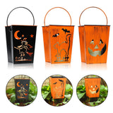 Set of 3 Decorative Lanterns with Flameless Led Candle, Witch, Cat, Pumpkin Patterns for Halloween and Indoor&Outdoor Use