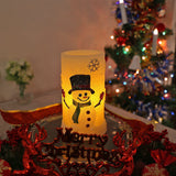 Snowman Flameless LED Candles with Timer, Battery Operated Candles for Holiday Decorations and Gift