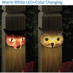 "Kanstar 2PK 6"" SMD-LED Animal Solar Powered Color Changing Deck Night Light Outdoor Waterproof Landscape Garape Garden Yard Fence White"