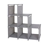 Kanstar 3-tier Storage Cube Closet Organizer Shelf 6-cube Cabinet Bookcase Gray