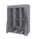"Kanstar 59"" Portable Clothes Closet Non-Woven Fabric Wardrobe Storage Organizer Gray"