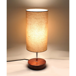 "17"" Round Wooden Minimalist Table Lamp"