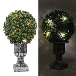 "13"" Decorative Green Artificial Topiary Boxwood Tree Plant in Plastic Pot w/10LED Lights"