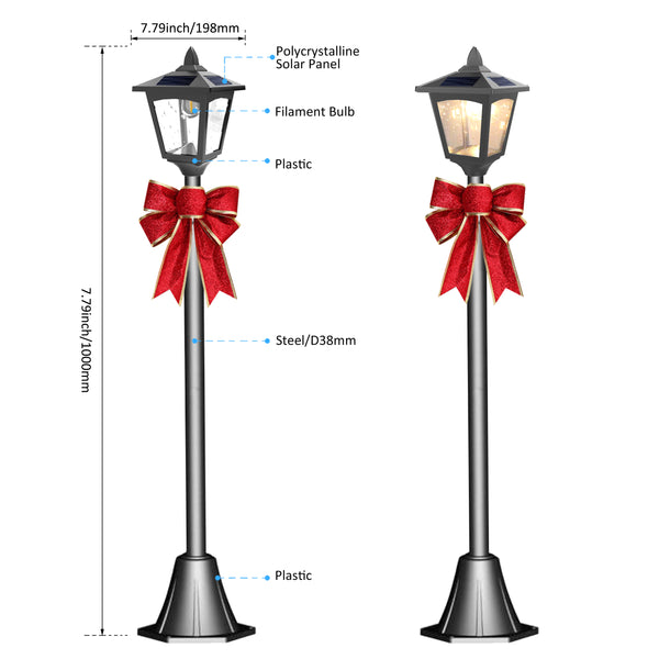 "Christmas 42"" Mini Street Vintage Outdoor Garden Solar Lamp Post Light Lawn (2 pack) - Adjustable"