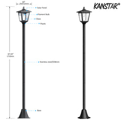 "70"" Street Vintage Outdoor Garden LED Solar Lamp Post Light Lawn - Adjustable"