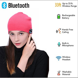 Upgraded Unisex Knit Bluetooth Beanie Hat Headphones V4.2 Unique Christmas Tech Gifts for Men/Dad/Women/Mom/Teen Boys/Girls Stocking Stuffer w/Built-in Stereo Speakers (Red)