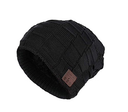 Unisex Bluetooth 4.2 Beanie Knit Hat, Wireless Musical Headphones Soft Winter Cap for Men Women (Black)