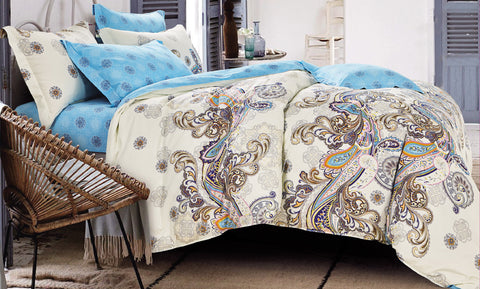 100% cotton reactive printing duvet cover set -- Summer