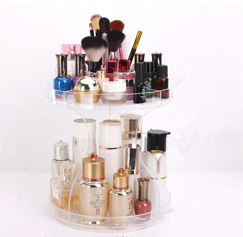 "12"" Acrylic Cosmetic Makeup and Jewelry Storage Display 360 Rotating Makeup Organizer, DIY Detachable Spinning Makeup Holder Storage Bag (Clear)"