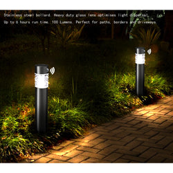 Solar Power LED Stainless Steel Landscape Pathway Lights with PIR Motion Sensor