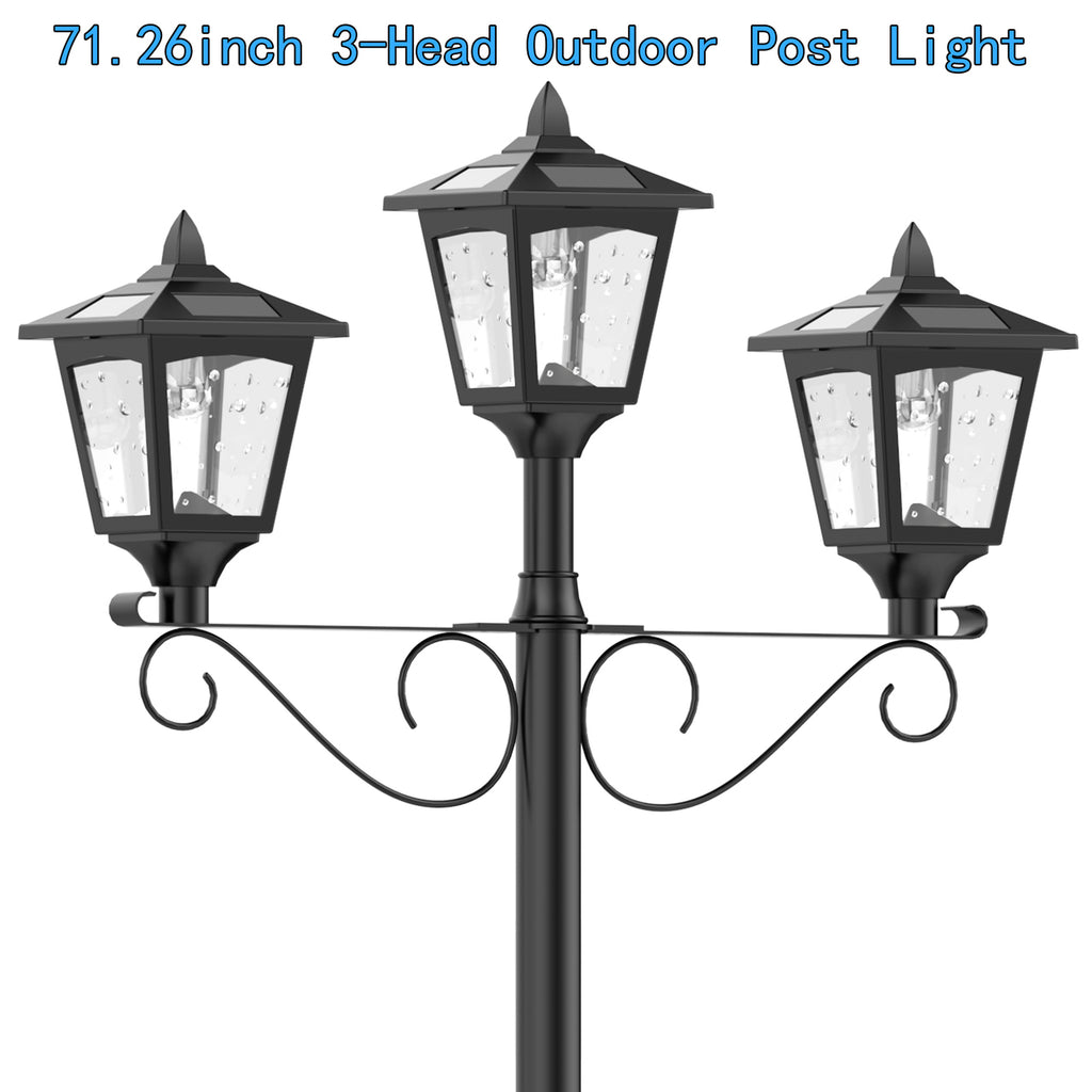 Rechargeable Street Light With On Wiring Outdoor Lights In Parallel 72 Vintage Garden Triple Solar Lamp Post Lawn Rh Kanstarus Com