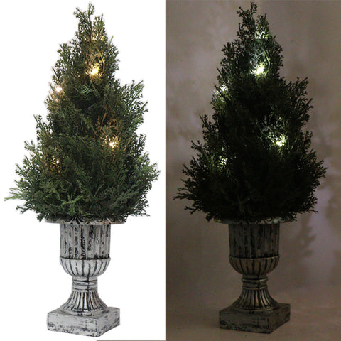 "18"" Decorative Green Artificial Topiary Tree Plant in Plastic Pot 10LED Lights"