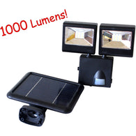 1000 Lumen Solar Powered Dual HeadsOutdoor Garden Motion Sensor Security Flood Light