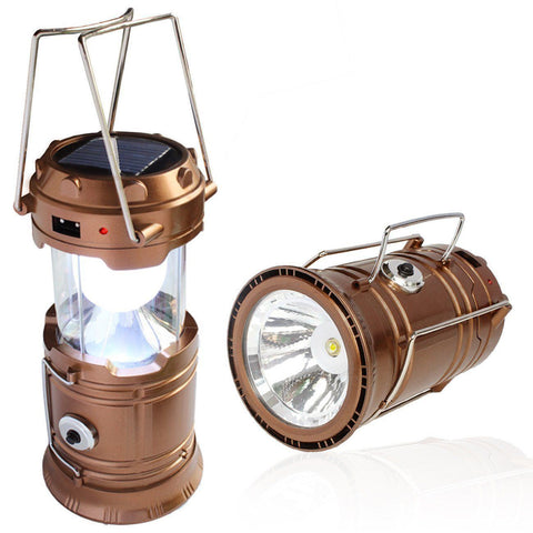 SOLAR POWERED CAMPING LANTERN, SOLAR LED CAMP LIGHT & HANDHELD FLASHLIGHT